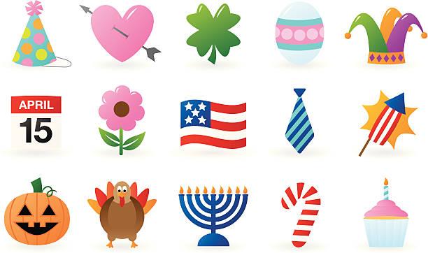 holiday icons - holiday calendars stock illustrations