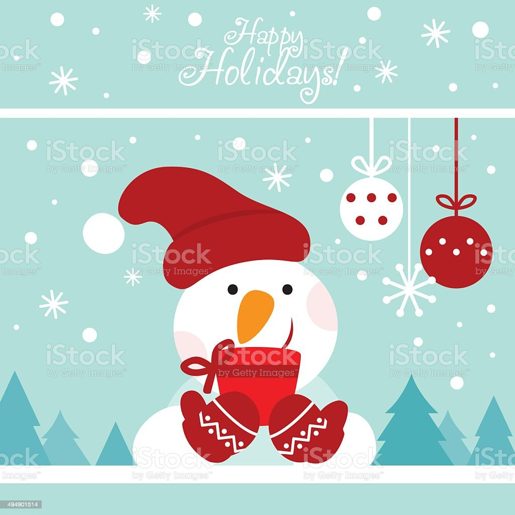 Happy New Year and Merry Christmas lovely vector card. Funny snowman...