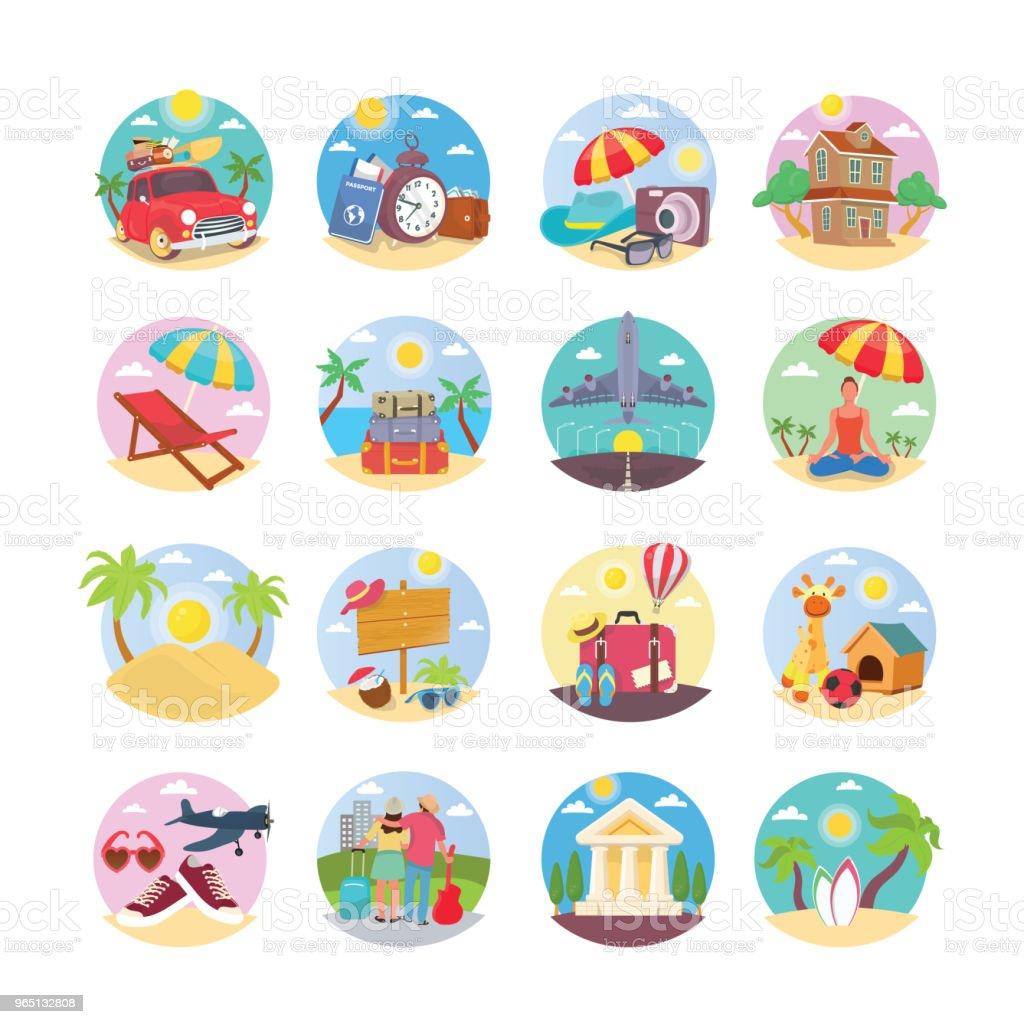 Holiday Illustration Icons Pack holiday illustration icons pack - stockowe grafiki wektorowe i więcej obrazów beach party royalty-free