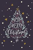A Very Merry Christmas To You hand lettering quote. Xmas phrase drawn in a shape of Christmas tree. Holiday invitation or greeting card. Vector illustration.
