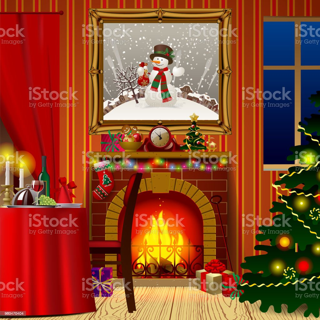 Holiday Interior With Fireplace Gifts And Decorated Christmas Tree