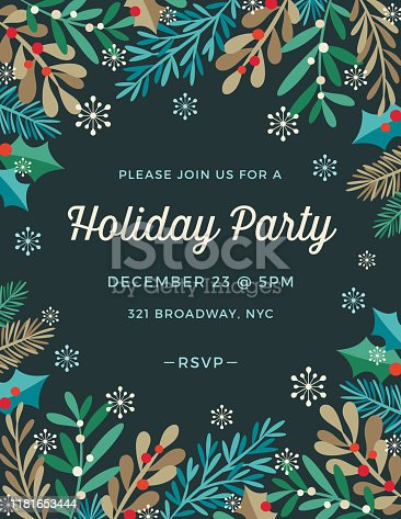 Holiday, Christmas frame background with stylized mistletoe and other branches and leaves. Holiday, Christmas party invitation.