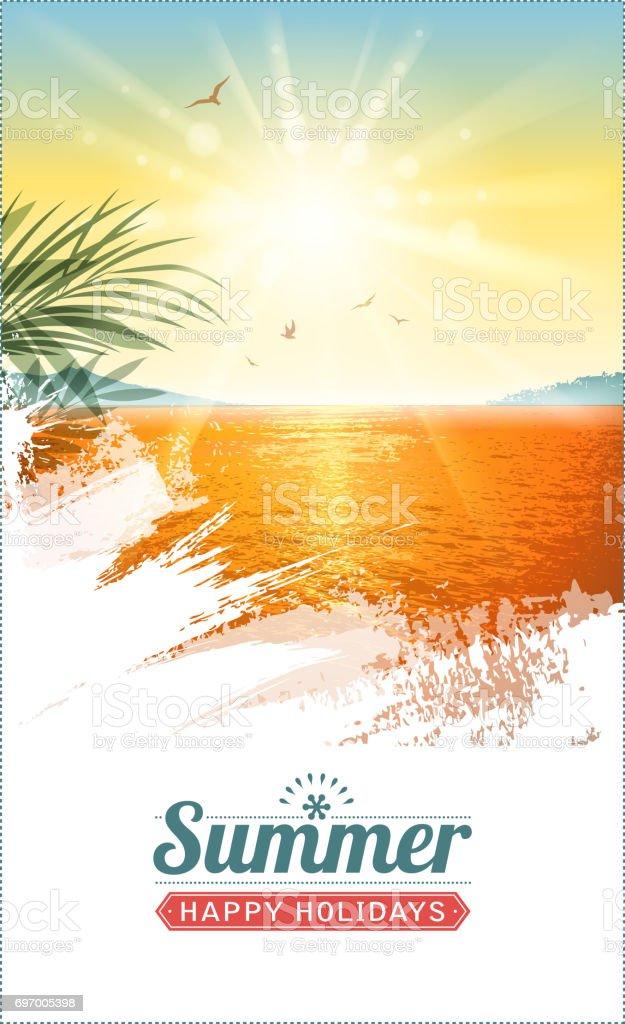 holiday landscape vector art illustration