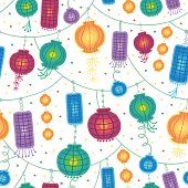 Holiday lanterns seamless pattern background