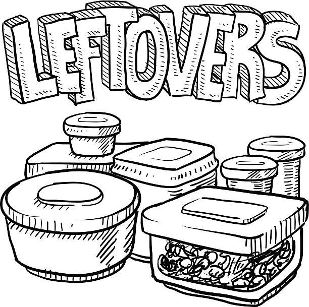 ilustraciones, imágenes clip art, dibujos animados e iconos de stock de holiday restos de alimentos boceto - leftovers