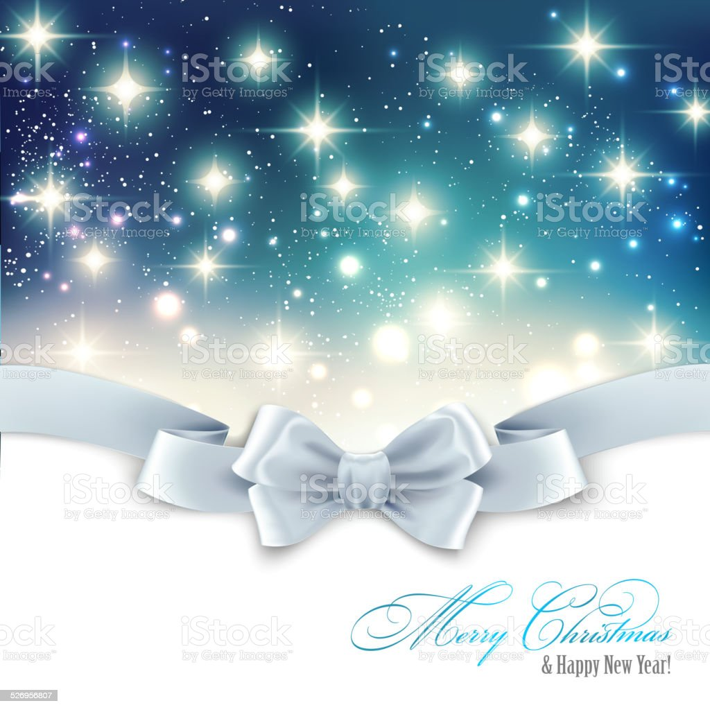 Holiday light Christmas background with white silk bow vector art illustration