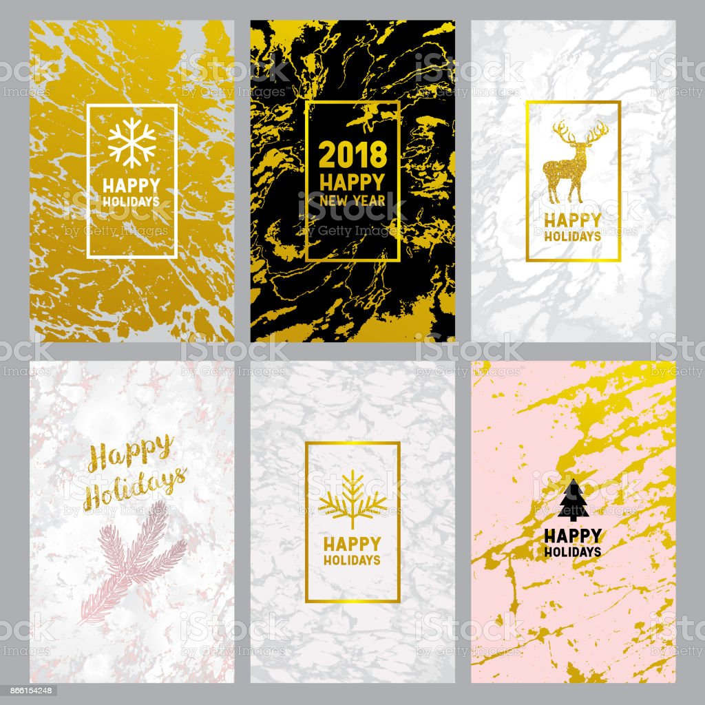 Holiday marble greeting cards vector art illustration