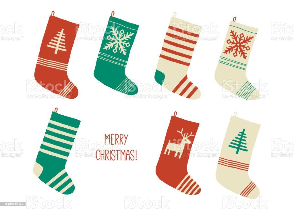 Holiday Merry Christmas card. Christmas stocking. Holiday socks set....