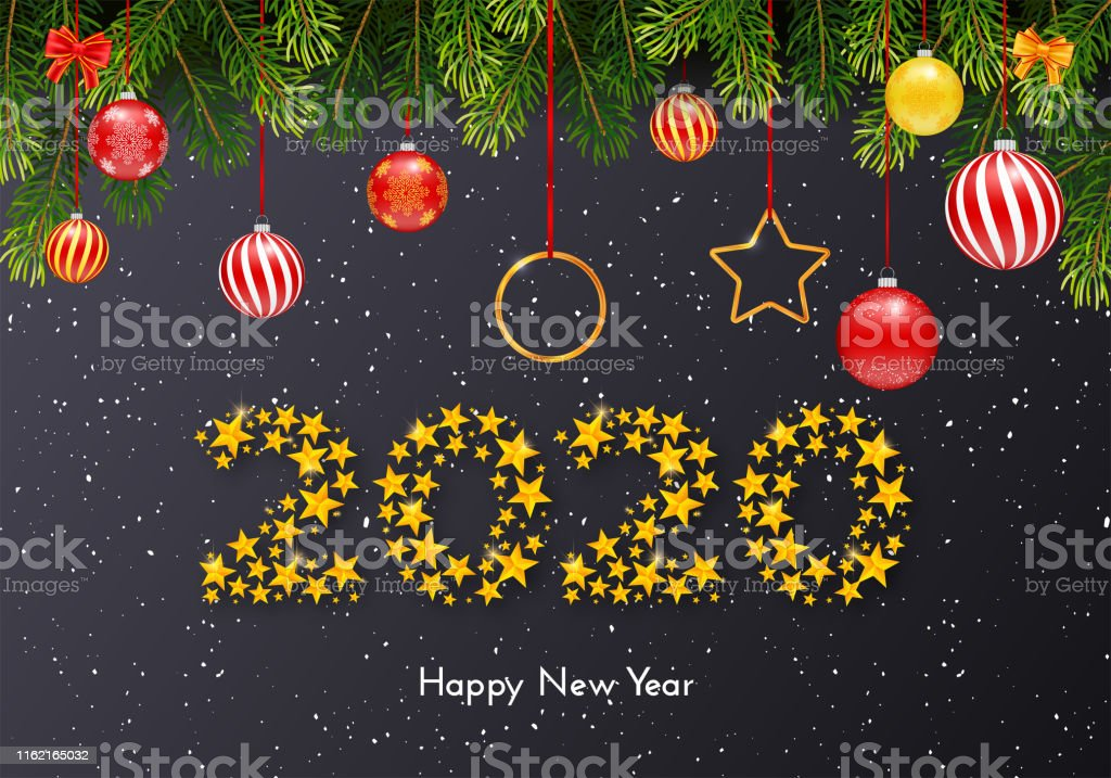 Holiday New Year 2020 gift card with fir tree branches on dark...