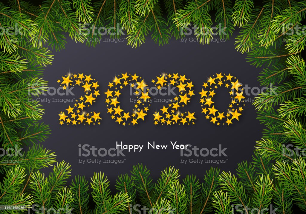 Holiday New Year 2020 gift card with numbers of golden stars and fir...