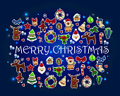 Holiday new year and christmas vector card.  Cute christmas characters on the deep blue background. Text Merry Christmas and happy new year.