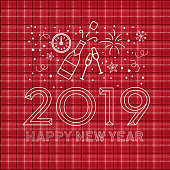 Vector illustration of a modern Holiday New Years Greeting Design Banner with line art icons. Fully editable and customizable.