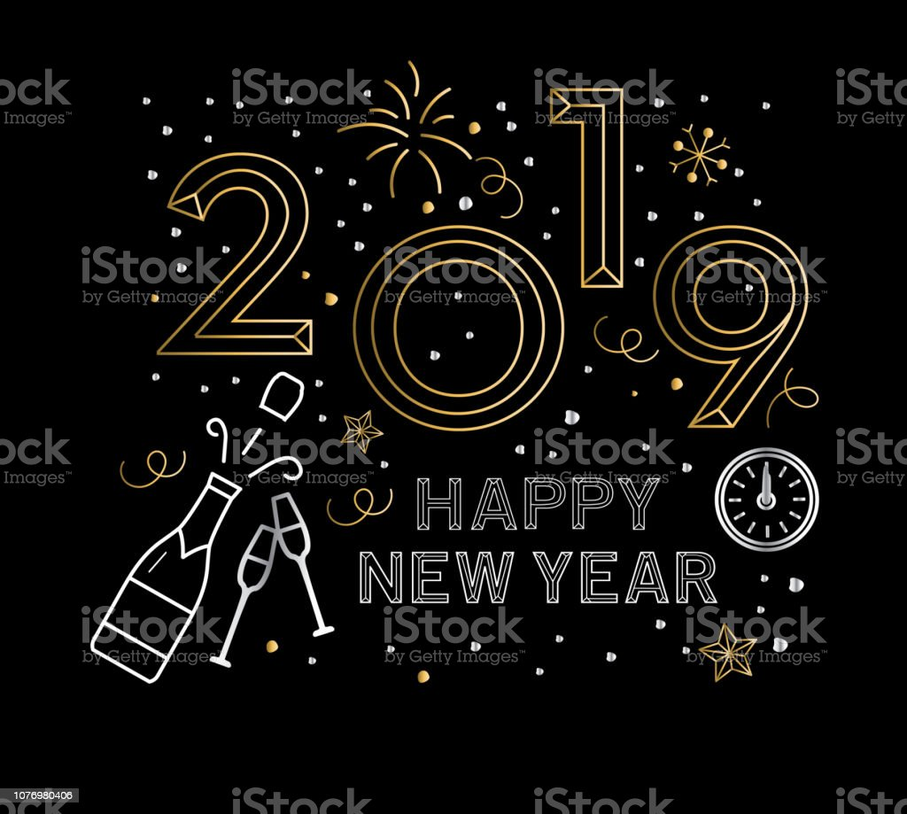 Vector illustration of a modern Holiday New Years Greeting Design...