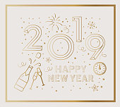 Holiday New Years Greeting Design Banner with line art icons