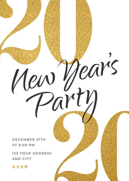 2020 - Holiday New Years Party Invitation Design Template. 2020 - Holiday New Years Party Invitation Design Template. Stock illustration new years day stock illustrations