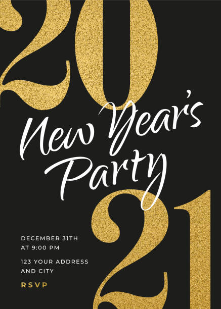 2021 - Holiday New Years Party Invitation Design Template. 2021 - Holiday New Years Party Invitation Design Template. Stock illustration new years day stock illustrations