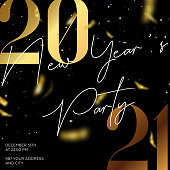 2021, New Year's Eve, New Year, Invitation, black background