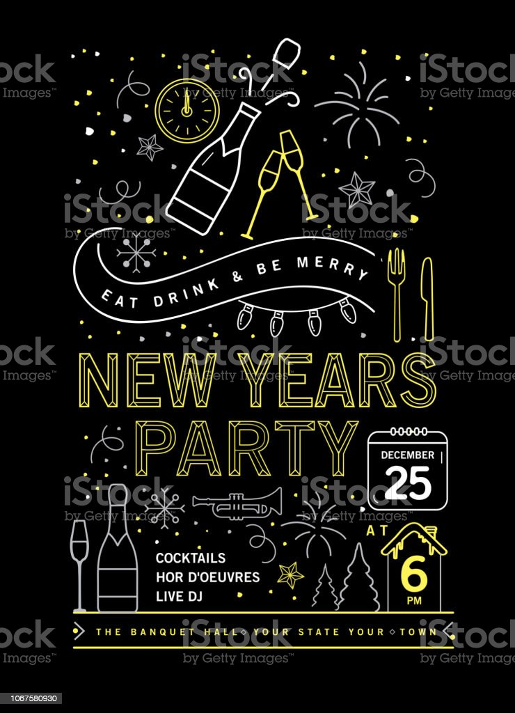 Holiday New Years Party Invitation Design Template with line art icons vector art illustration