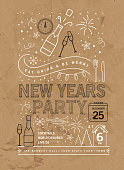 Holiday New Years Party Invitation Design Template with line art icons