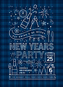 Vector illustration of a modern Holiday New Years Party Invitation Design Template plaid with line art icons. Fully editable and customizable.