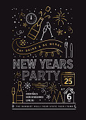 Vector illustration of a modern Holiday New Years Party Invitation Design Template with line art icons. Fully editable and customizable.