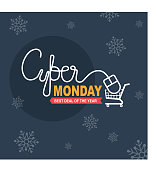 Holiday online shopping concept for the Cyber monday sale . Banner. Vector image.