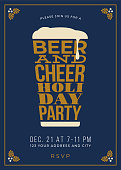 Holiday Party - Beer glass concept slogan background - Illustration
