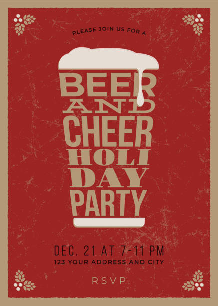 holiday party - beer glass concept slogan background - alcohol drink backgrounds stock illustrations