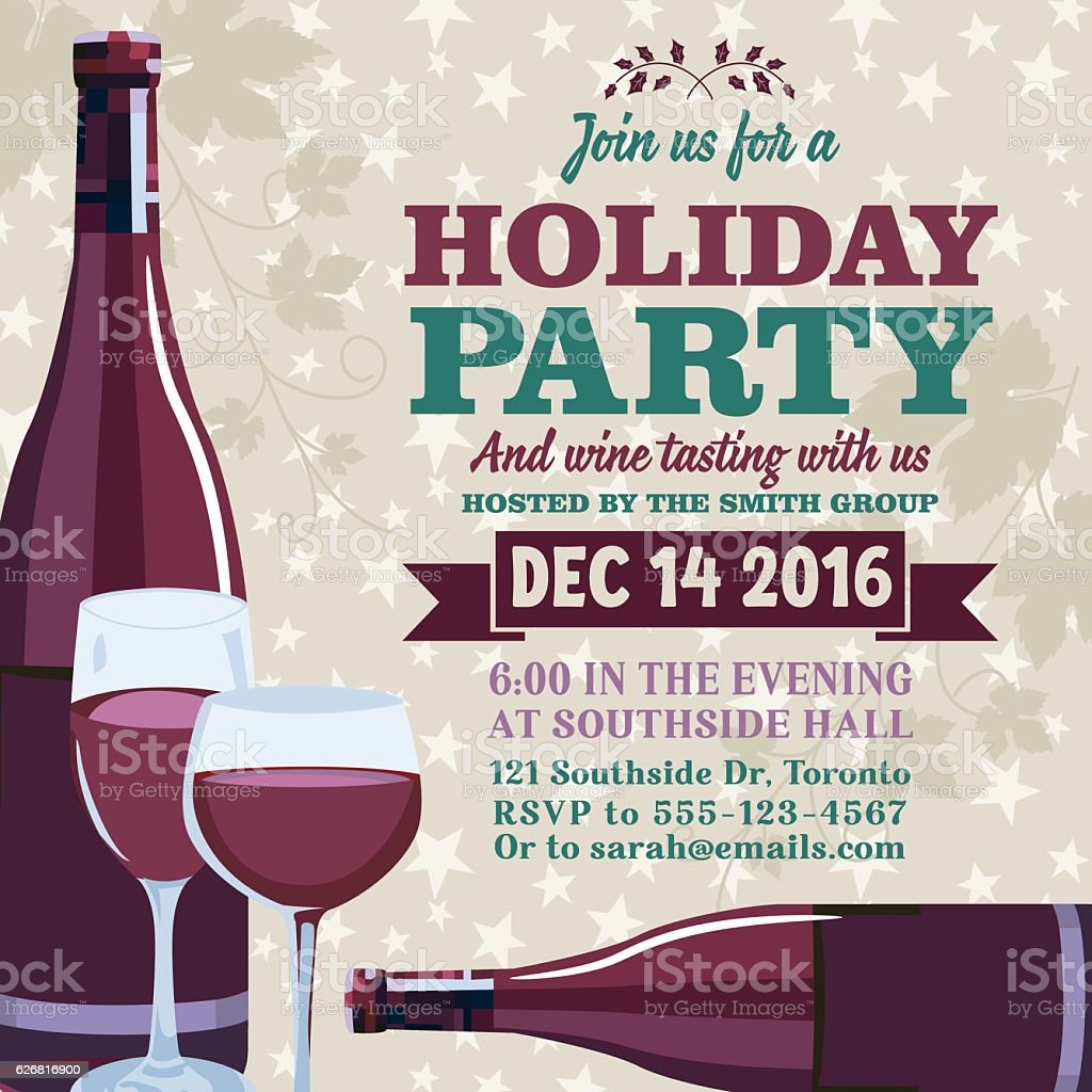 Holiday Party Invitation Template With Wine Tasting Stock Vector Art ...