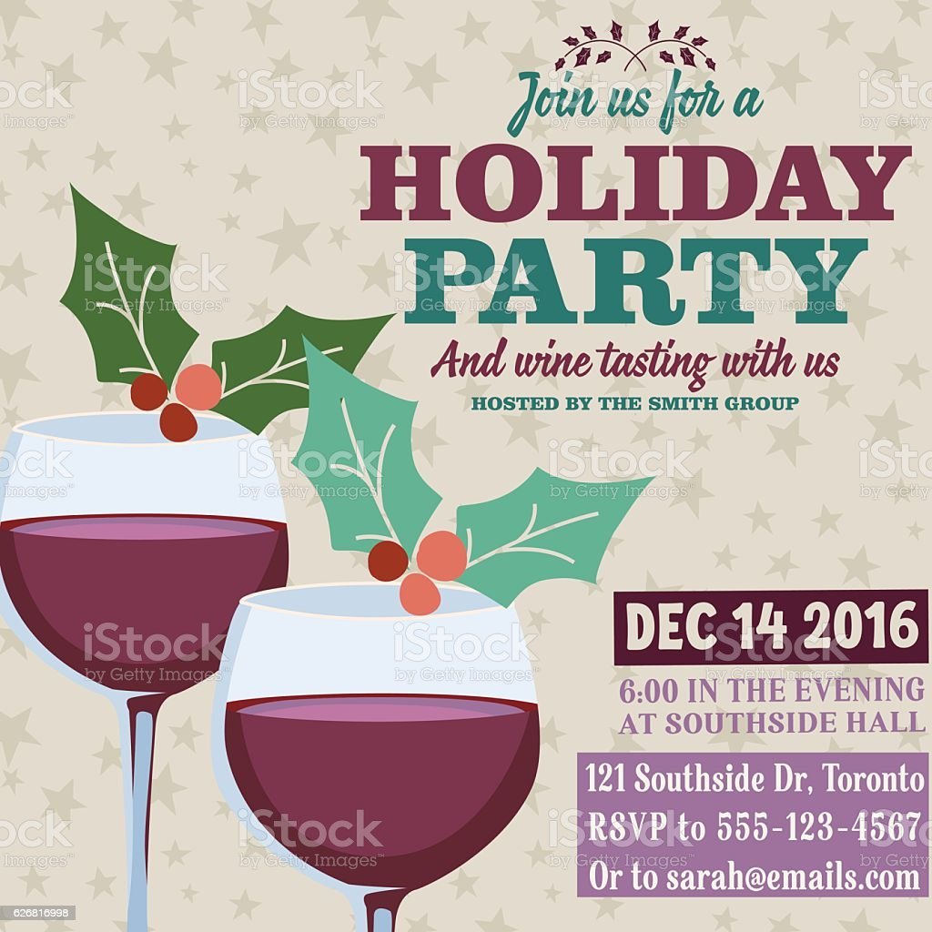 Royalty Free Holiday Party Invitation Template With Wine Tasting