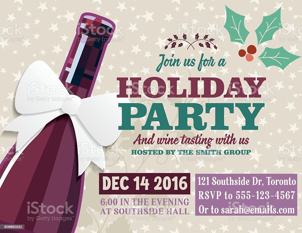 Holiday Party Invitation Template With Wine Tasting Clip Art, Vector Images  U0026 Illustrations