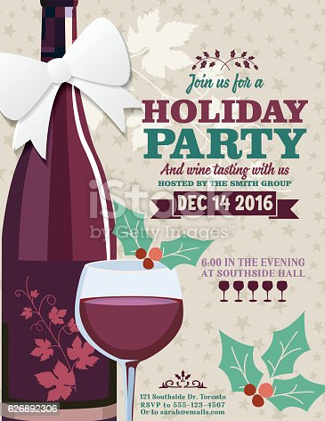 Holiday Party Invitation Template With Wine Tasting Stock Vector Art
