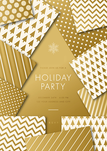 Holiday party invitation with geometric Christmas Tree.