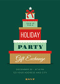 Holiday Party invitation with gift boxes - stock illustration