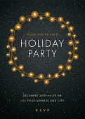 Holiday party invitation with Lights Wreath.