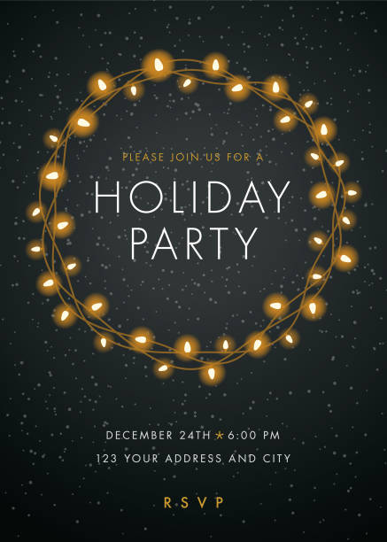 holiday party invitation with lights wreath. - invitation card stock illustrations, clip art, cartoons, & icons
