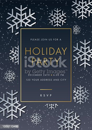 Holiday Party invitation with Snowflake - Illustration