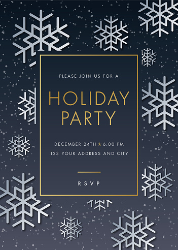 Holiday Party invitation with Snowflake