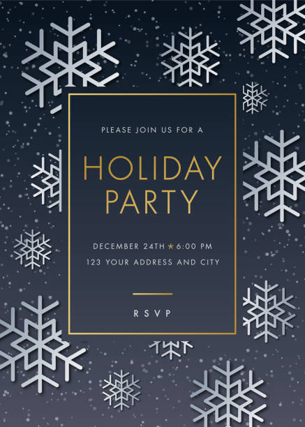 holiday party invitation with snowflake - invitations templates stock illustrations