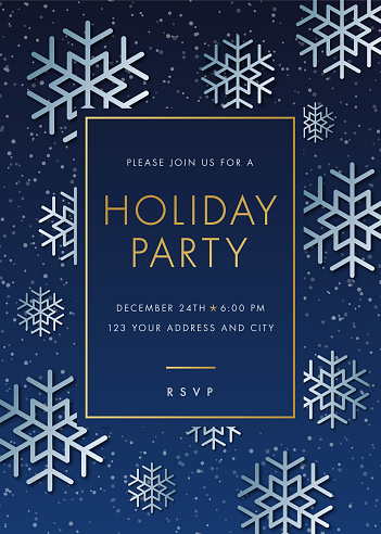 Holiday Party invitation with Snowflake.