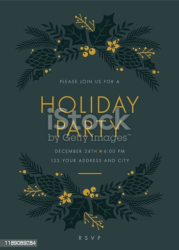 Holiday Party invitation with wreath. Stock illustration