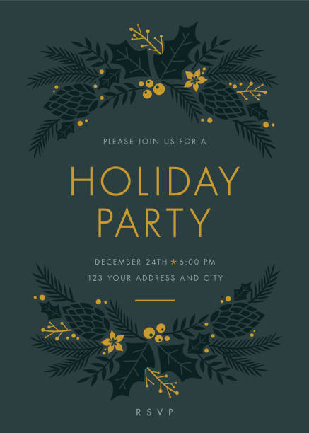 holiday party invitation with wreath. - holiday season stock illustrations