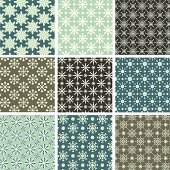 Collection of 9 seamless patterns.  Each pattern is grouped separately for easy editing.  Colors are global for easy editing.  Pattern tiles are included in swatches window.