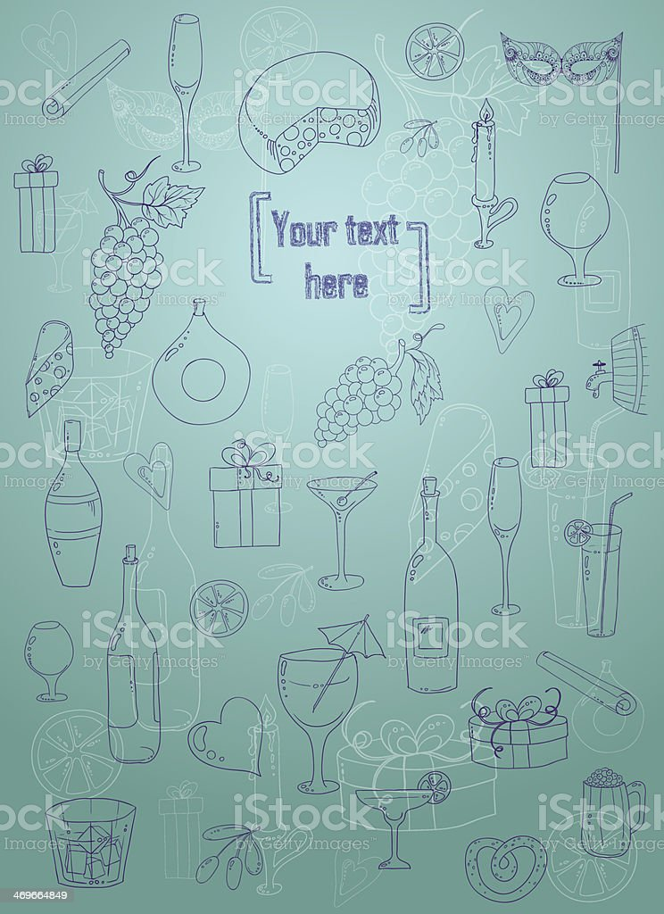 Holiday pattern with love hearts, wine, grapes, chees and gifts. royalty-free stock vector art
