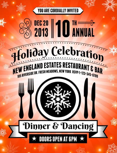 holiday paty celebration invitation card - office party stock illustrations, clip art, cartoons, & icons