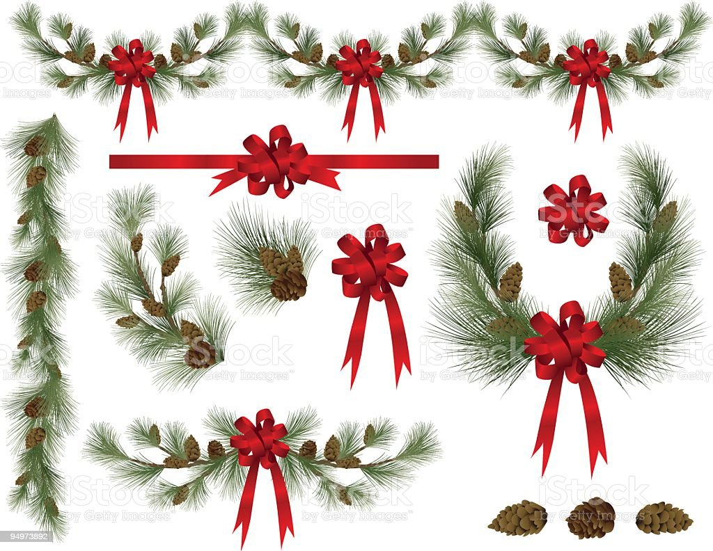 holiday pine and spruce elements clipart with red bows stock vector rh istockphoto com Free Clip Art Christmas Lights Free Christmas Borders Clip Art