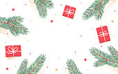 Holiday pine branch background.