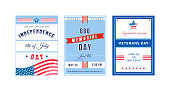 US holiday poster flat vector templates set. American Independence Day. Brochure, booklet pages concept designs pack. National US holiday flyer, leaflets collection