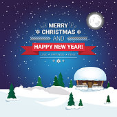 Holiday Poster Merry Christmas And Happy New Year Message On Snowy Winter Countryside Landscape Vector Illustration
