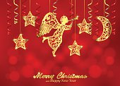 Holiday red background with golden figures of angel, stars, moon